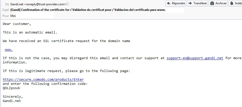 Mail de validation